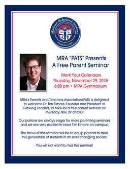 Free MRA Parent Seminar Nov. 29 at 6:00 in the Gym