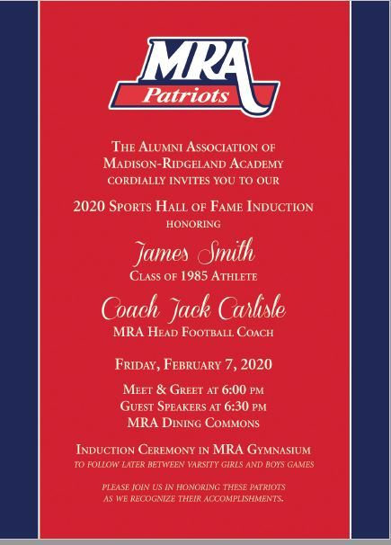 2020 MRA Athletic Hall of Fame Induction Tonight